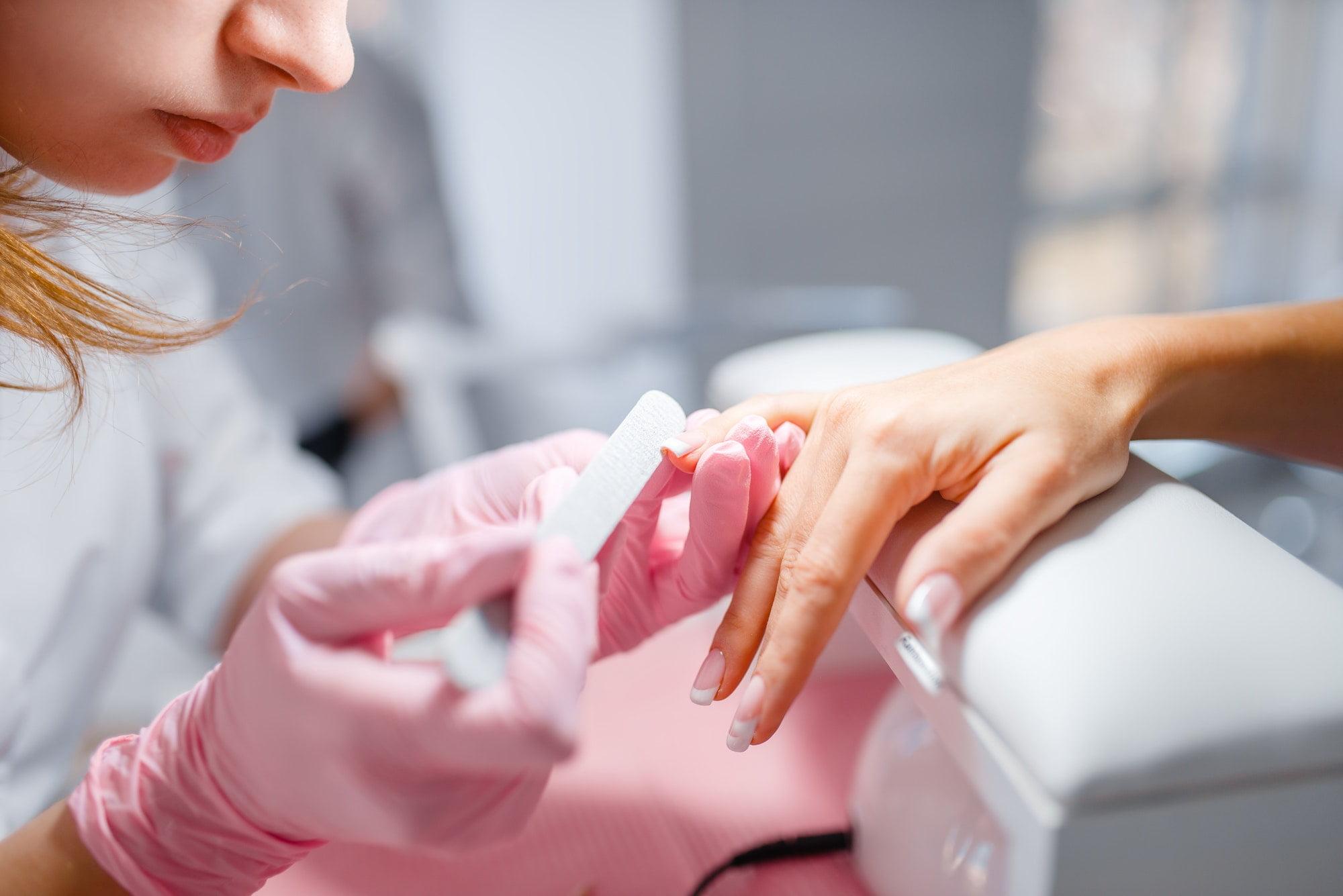 Beautician salon, manicure, fingernails polishing